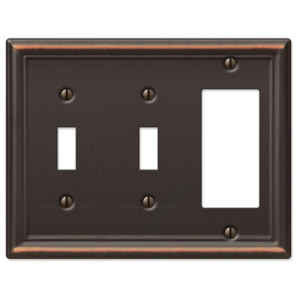 Chelsea 2 Toggle and 1 Decora Wall Plate - Aged Bronze