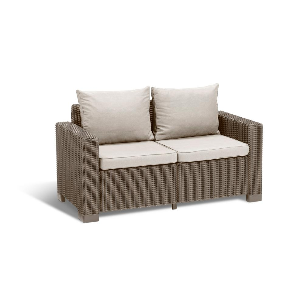 California Cappuccino Plastic Wicker Outdoor Loveseat With Sand Cushions 233211 The Home Depot