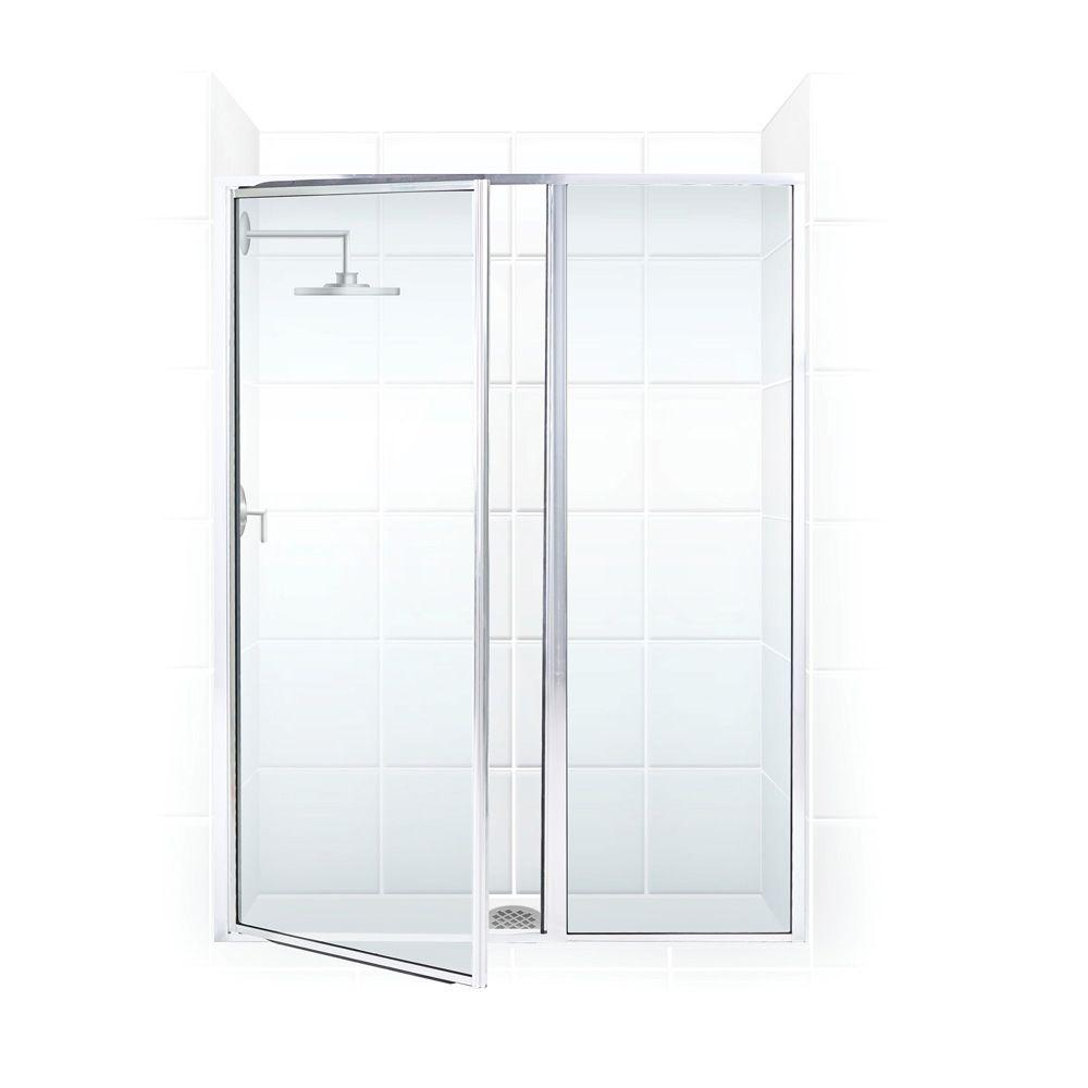 Coastal Shower Doors Legend Series 38 in. x 69 in. Framed Hinge Swing Shower Door with Inline Panel in Platinum with Clear Glass