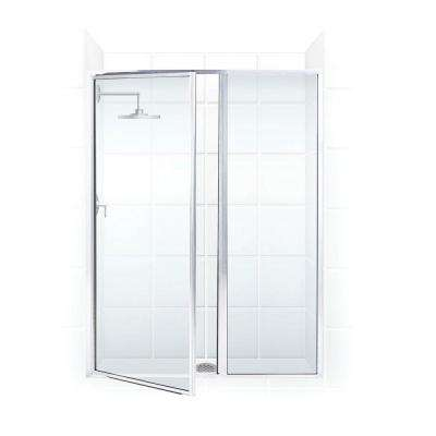 Legend Series 40 in. x 69 in. Framed Hinged Shower Door with Inline Panel in Platinum with Clear Glass
