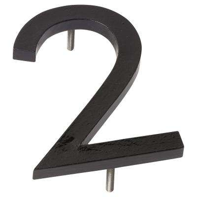 6 in. Black Aluminum Floating or Flat Modern House Number 2