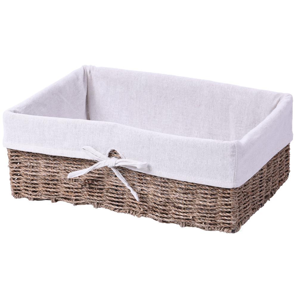 Large Seagr Shelf Storage Basket With White Lining