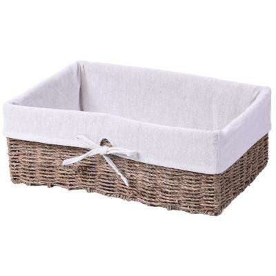 17 in. x 6.25 in. Large Seagrass Shelf Storage Basket with White Lining