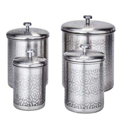 "4-Piece 4 Qt, 3 Qt. and 2 Qt. Brushed Nickel ""Geometric"" Canister Set"