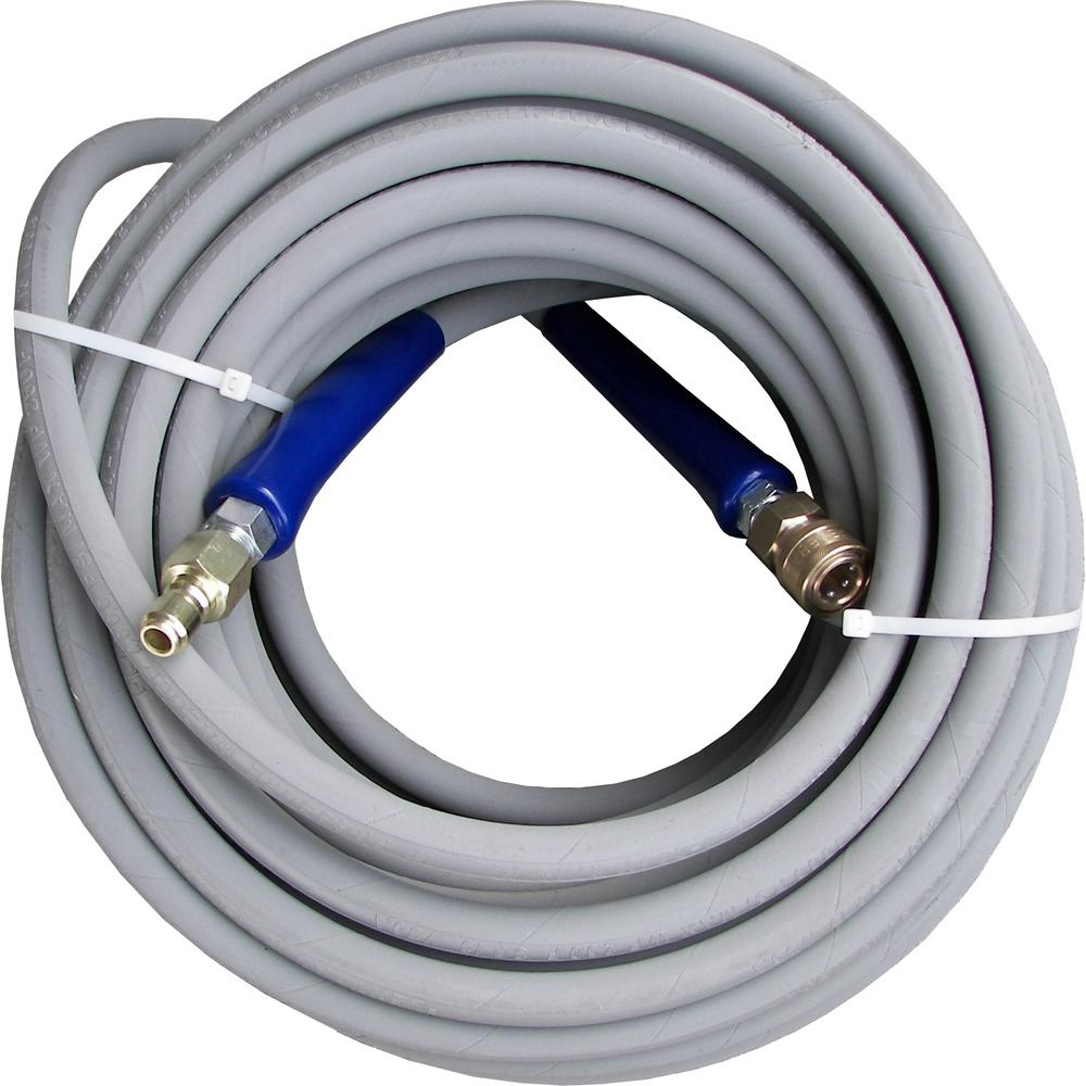 Pressure-Pro 3/8 ft. x 100 ft. Gray Pressure Washer Replacement Hose, Non-Marking with Quick Disconnects