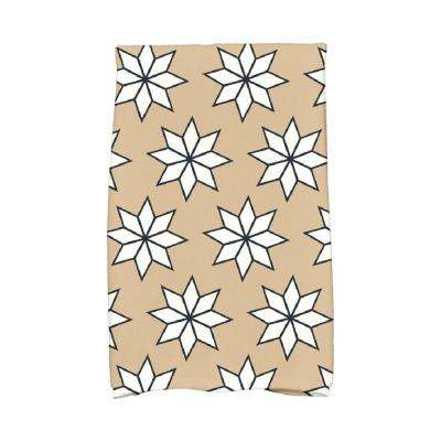 16 in. x 25 in. Taupe Christmas Stars-1 Holiday Geometric Print Kitchen Towel