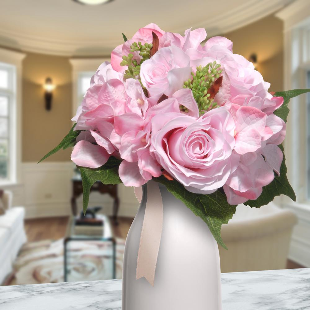12.2 in. Mixed Pink Rose and Hydrangea Bouquet