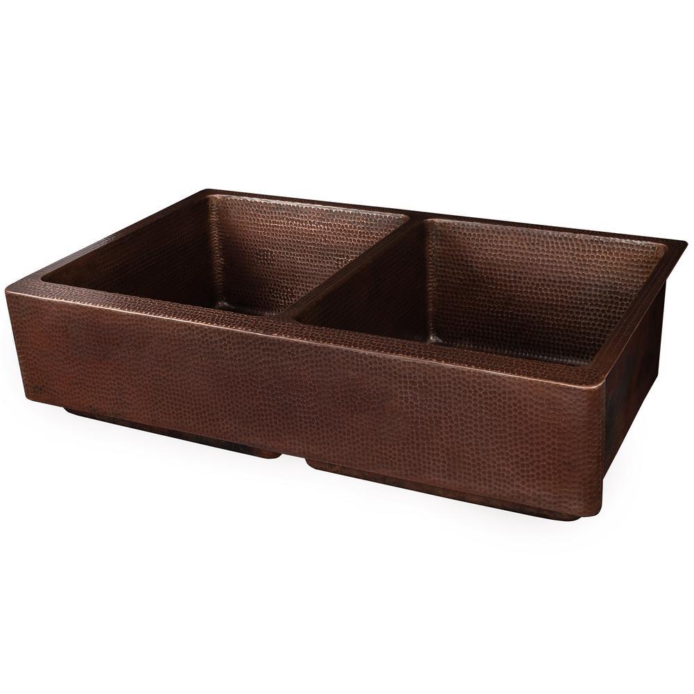 Farmhouse/Apron-Front Copper 35 in. 50/50 Double Bowl Retrofit Kitchen Sink in Oil Rubbed Bronze
