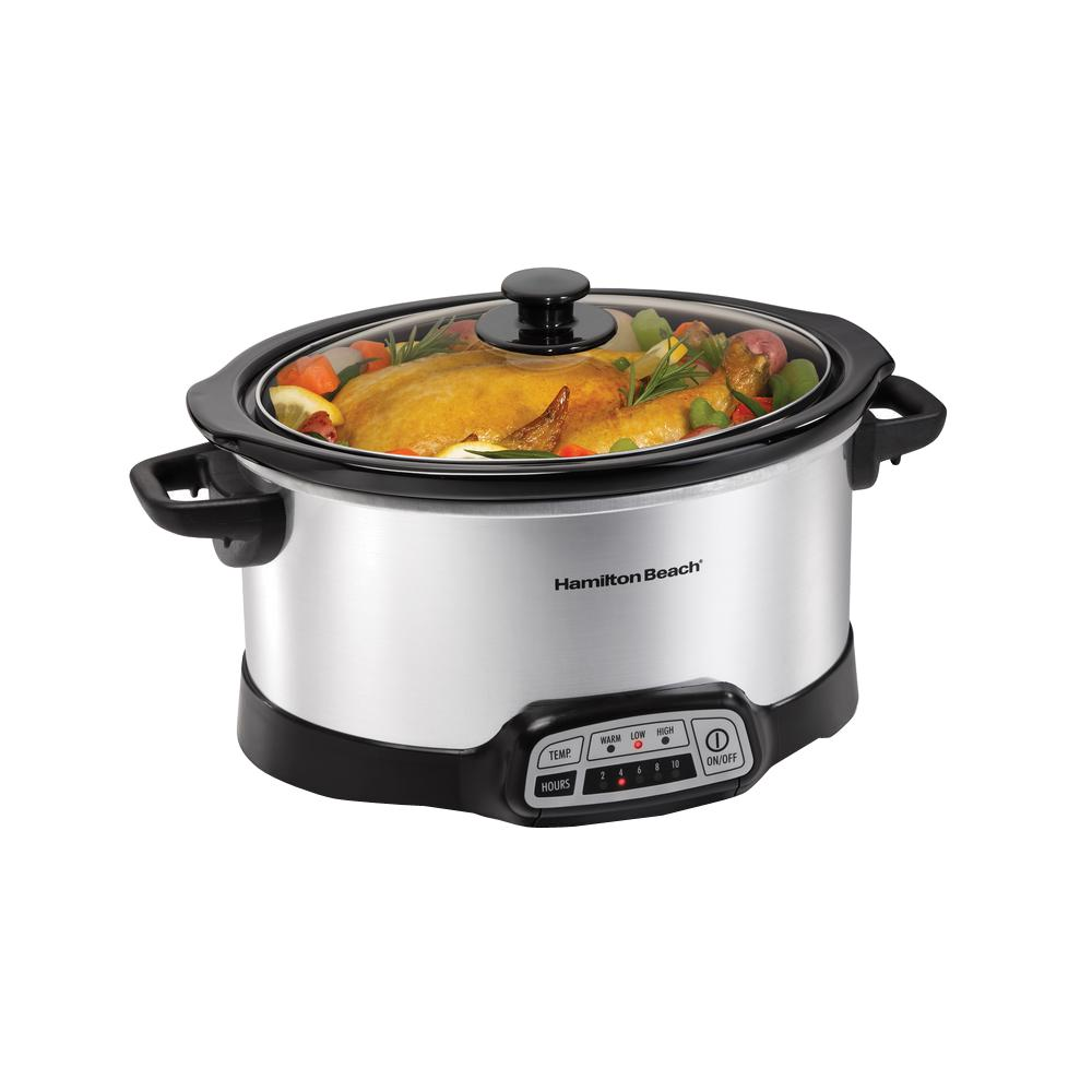 Programmable 6 Qt. Slow Cooker, Silver Running late, Last-minute party preparations, The Hamilton Beach 6 Qt. Programmable Slow Cooker adapts to your schedule. Once cooking is complete, it automatically adjusts to keep your meal warm. Prevent overcooking. Color: SILVER.