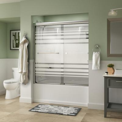 Everly 60 in. x 58-1/8 in. Traditional Semi-Frameless Sliding Bathtub Door in Chrome and 1/4 in. (6mm) Transition Glass