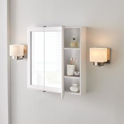 24-3/16 in. W x 24-3/16 in. H Fog Free Framed Surface-Mount Tri-View Bathroom Medicine Cabinet in White