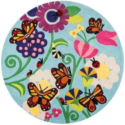 Lil Mo Whimsy Butterfly Multi 5 ft. x 5 ft. Indoor Kids Round Area Rug