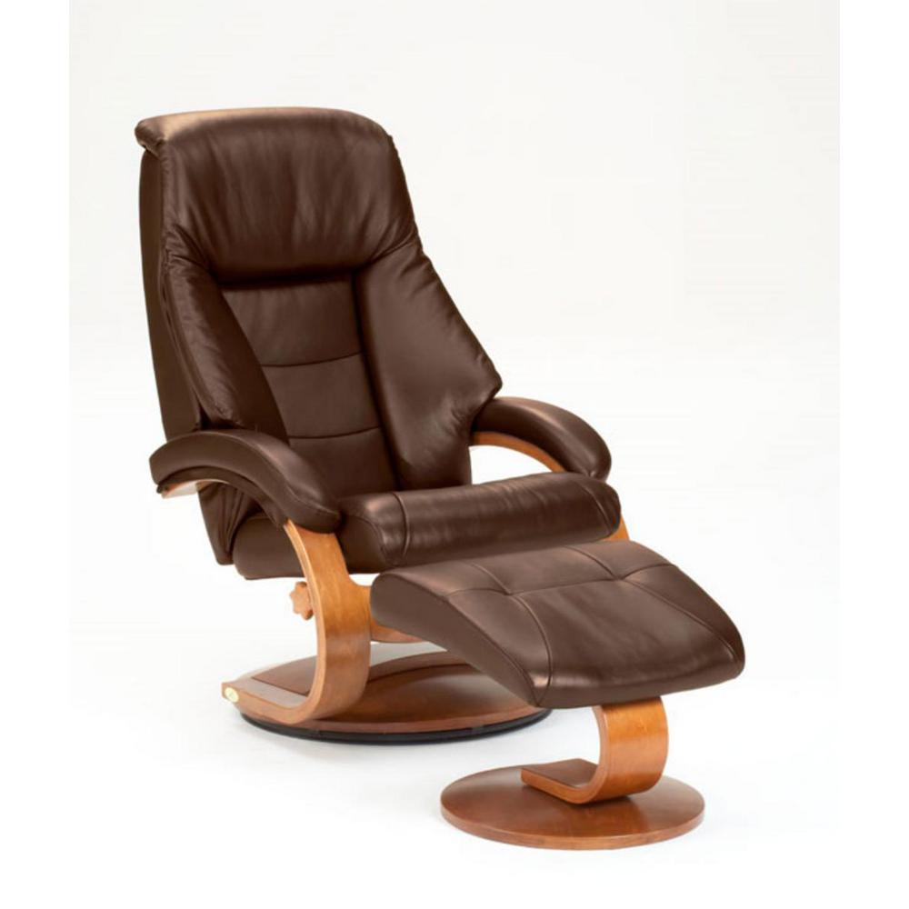 Mac Motion Oslo Collection Espresso Top Grain Leather Swivel Recliner With  Ottoman