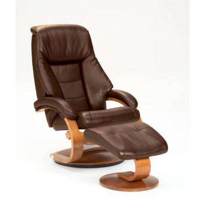 Oslo Collection Espresso Top Grain Leather Swivel Recliner with Ottoman