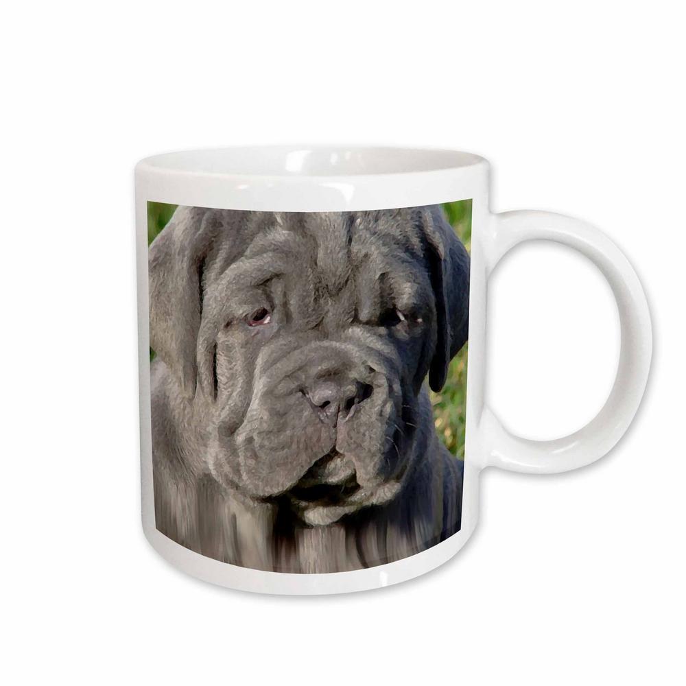 Dogs 11 oz. White Ceramic Neapolitan Mastiff Mug