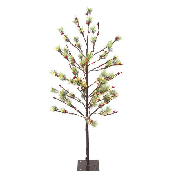 4 ft. Pre-Lit Twig Tree with 160 White LED Twinkle Lights