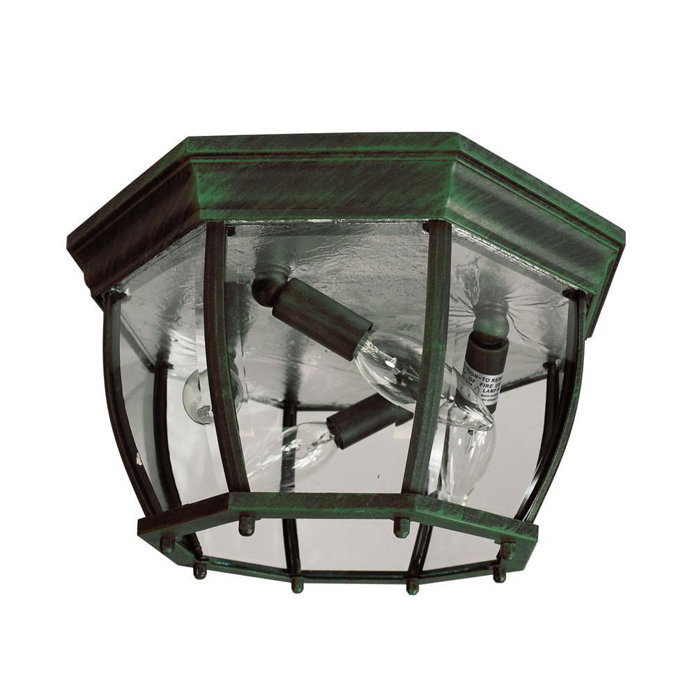 Bel Air Lighting Angelus Verde Green 4-Light Outdoor Flush