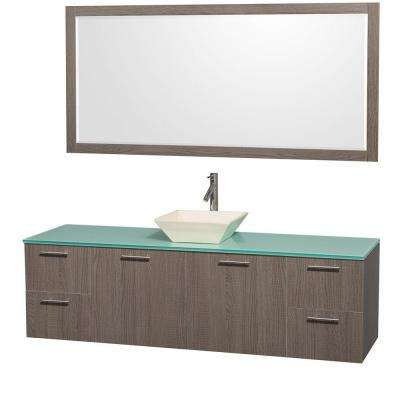 Amare 72 in. Vanity in Grey Oak with Glass Vanity Top in Aqua and Bone Porcelain Sink