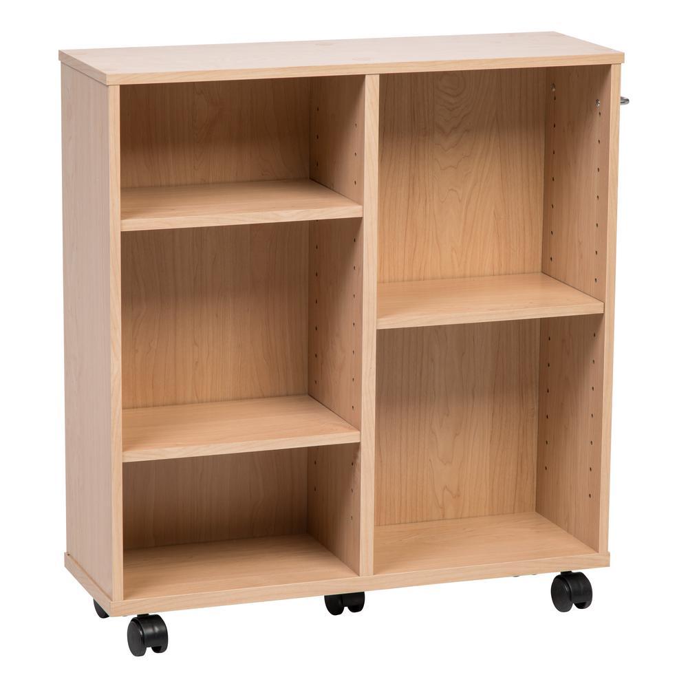 Light Brown Wooden Rolling Shelf
