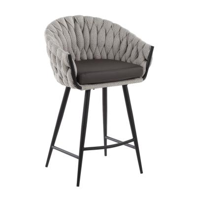 Braided Matisse 26 in. Solid Back Black Metal with Cream Fabric and Grey Faux Leather Counter Height Stool
