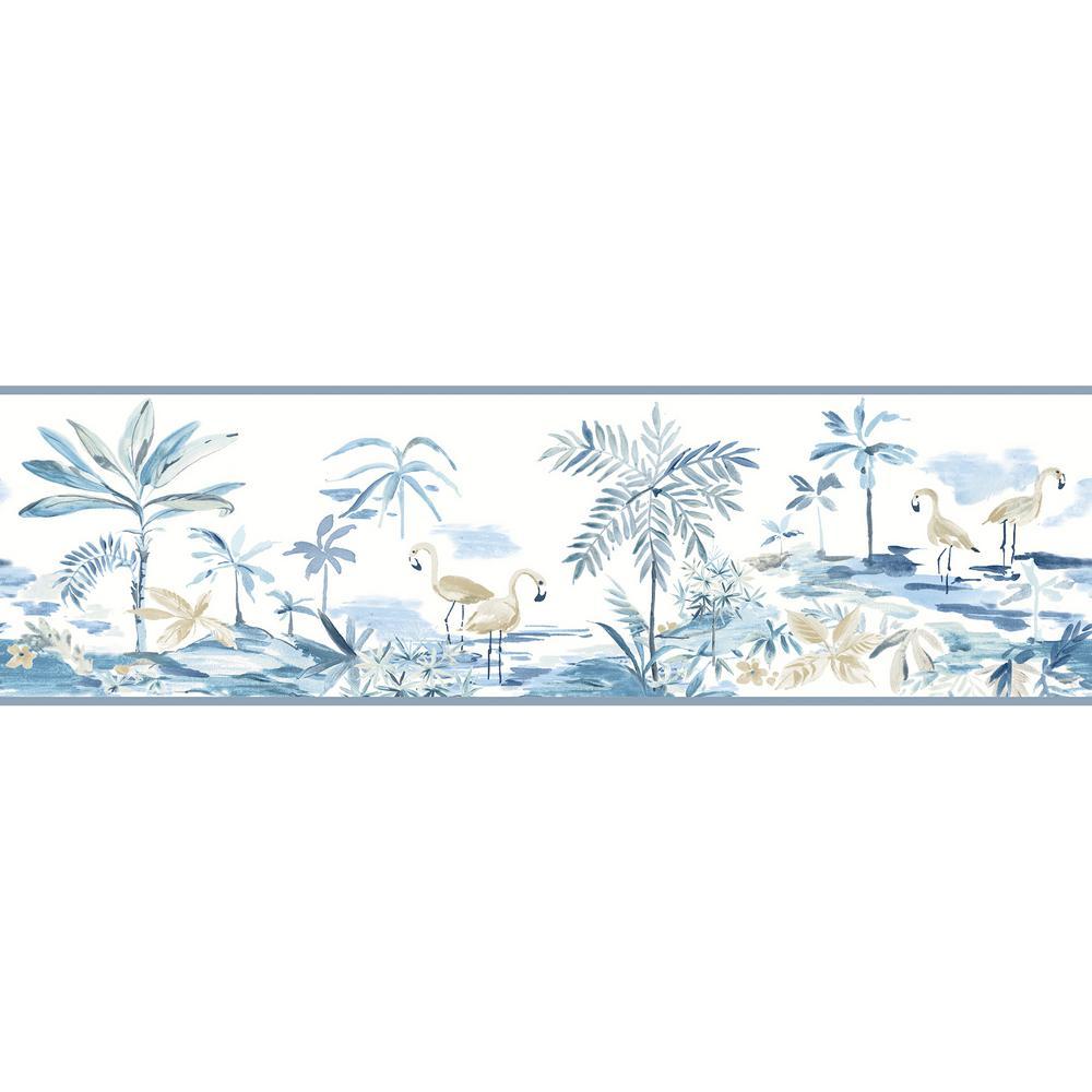 Lagoon Blue Watercolor Blue Wallpaper Border Sample