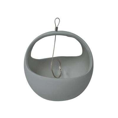 Basket 4-1/2 in. x 4-1/2 in. Light Gray Ceramic Hanging Planter