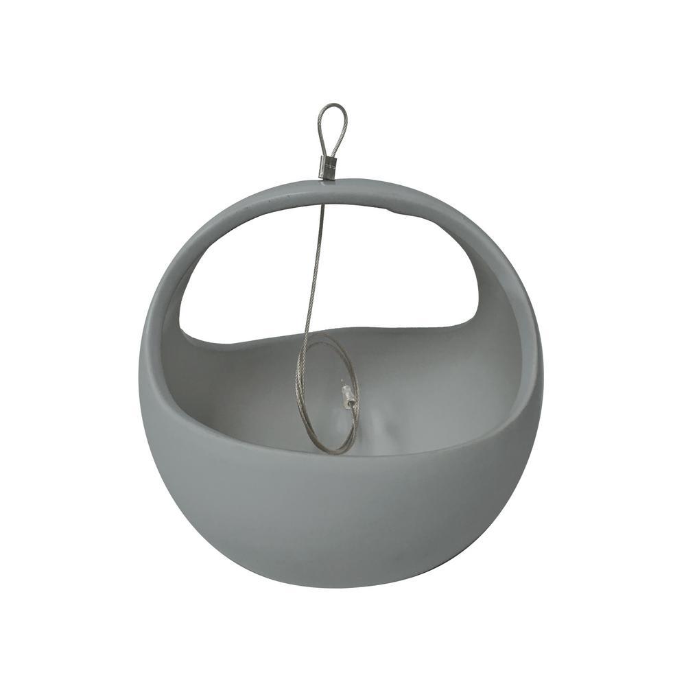 Basket 4-1/2 in. x 4-1/2 in. Light Gray Ceramic Hanging Planter