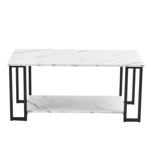 39.37 in. MDF Rectangle Black Modern Coffee Accent Table Living Room