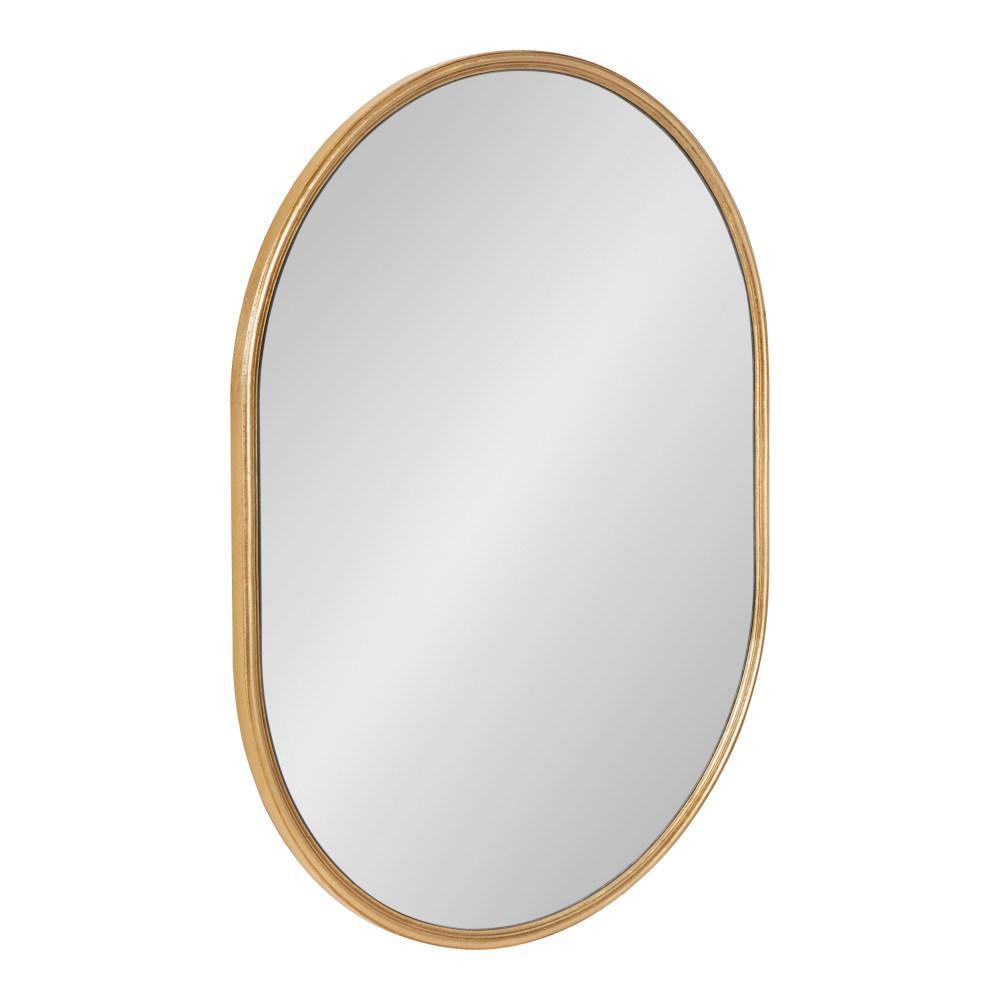 Caskill 24 in. x 18 in. Modern Oval Gold Wall Mirror