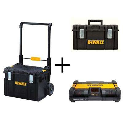 ToughSystem DS450 22 in. 17 Gal. Mobile Tool Box, DS300 Large Tool Box and Portable Radio Combo Set (3 Components)