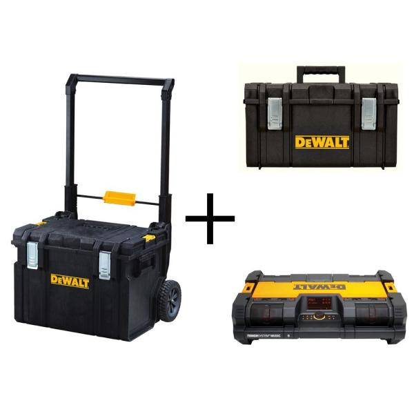 TOUGHSYSTEM 22 in. 17 Gallon Mobile Tool Box with Bonus 22 in. Medium Tool Box and Portable Radio Combo (3-Piece Set)
