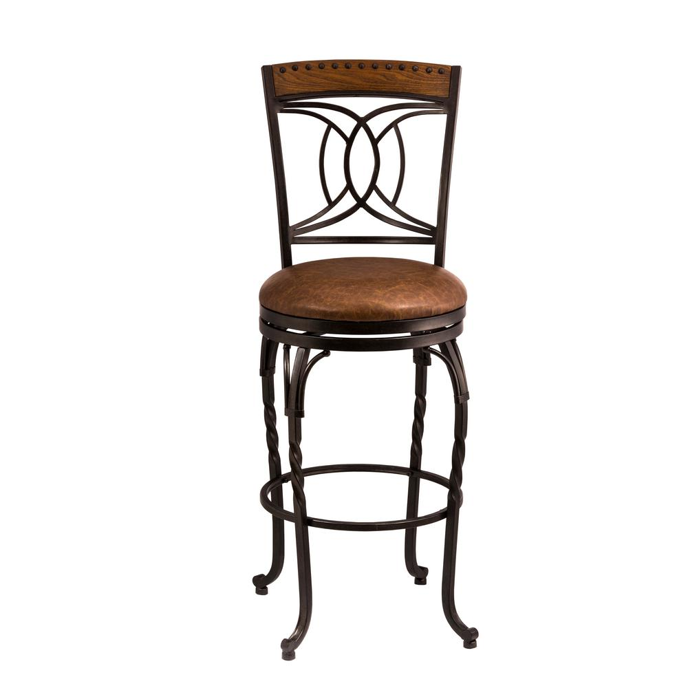 Donovan 24 in. Antique Brown Swivel Cushioned Counter Stool