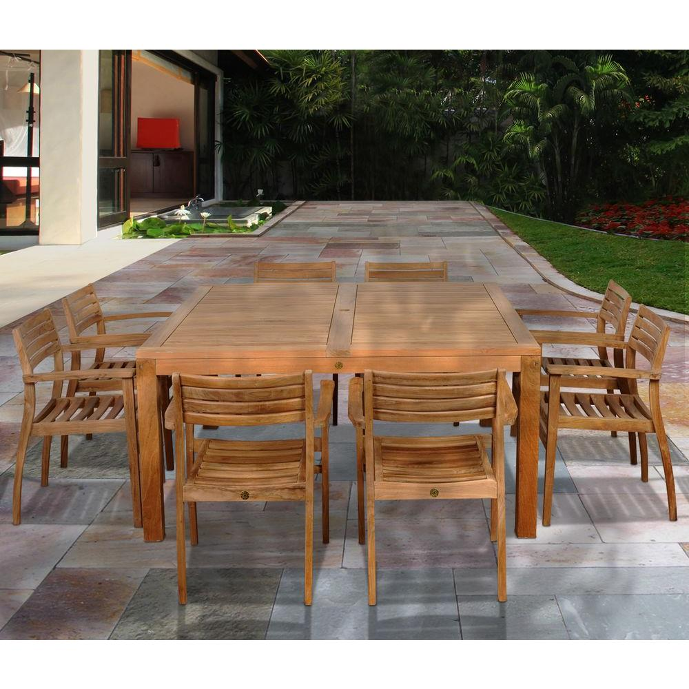Victoria square 9 piece teak patio dining set
