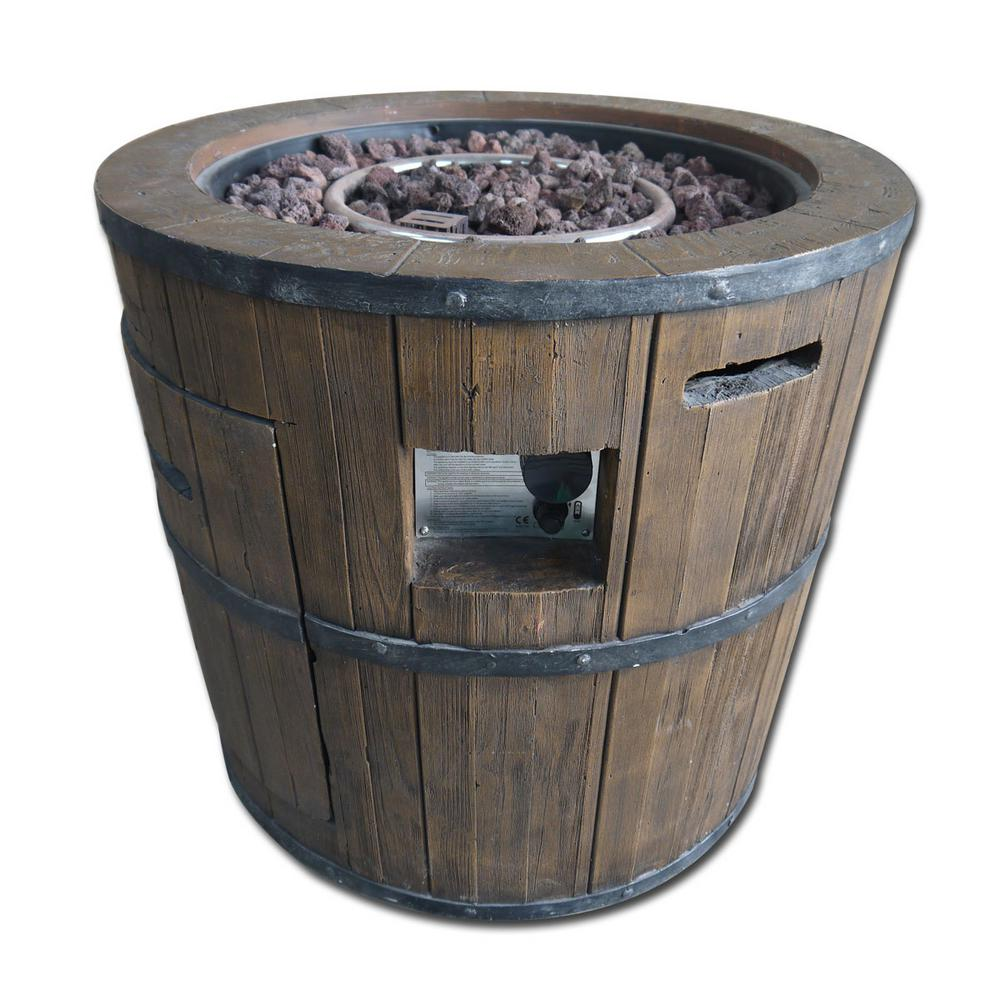 Hampton Bay 26.8 in. Barrel Gas Fire Pit, Wood Look Finish