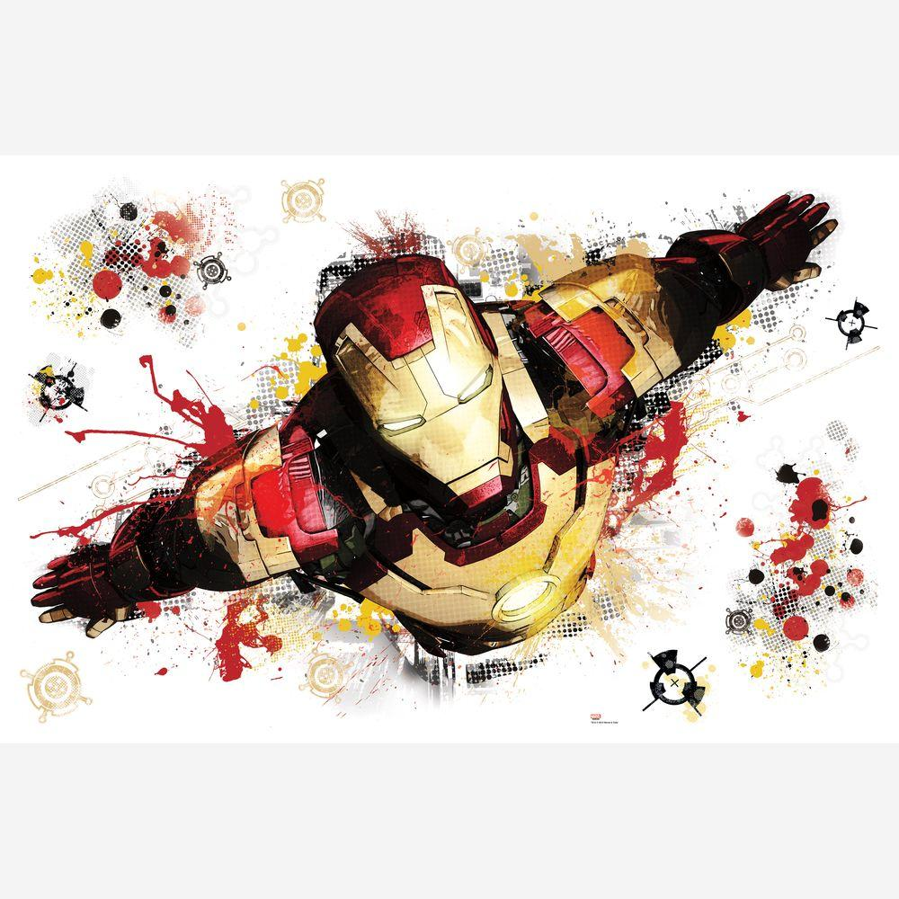null 2.5 in. x 27 in. Iron Man 3-Graphic Peel and Stick Giant 8-Piece Wall Decals-DISCONTINUED