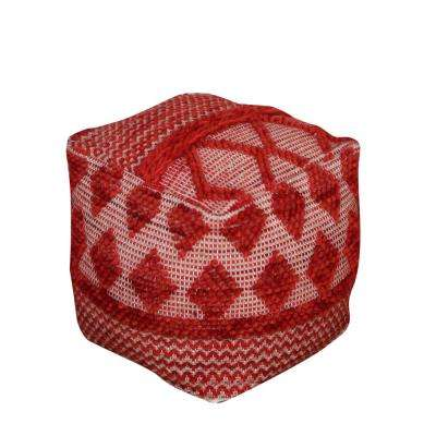 Lyon Red Cotton and Wool Pouf