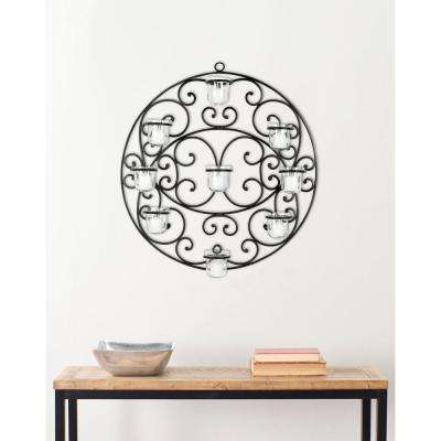 23.6 in. Tea Light Wall Decor in Black