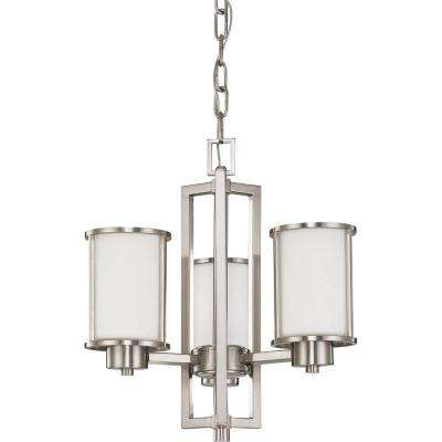 Andra Odeon 3-Light Brushed Nickel Convertible Chandelier with Satin White Glass