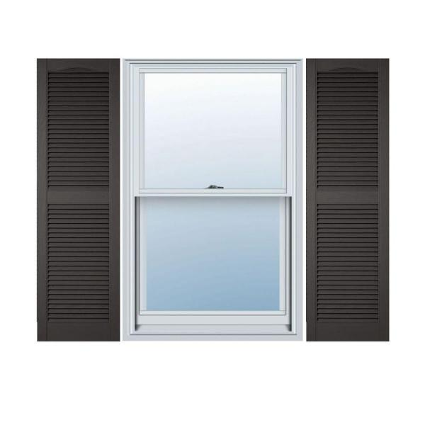 Ekena Millwork 14 1 2 In X 94 In Lifetime Vinyl Custom Cathedral Top Center Mullion Open Louvered Shutters Pair Tuxedo Grey Ll1c14x09400tg The Home Depot
