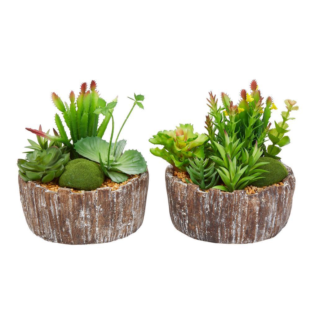 8 in. Faux Succulent Arrangement with Decorative Concrete Planter (Set of 2)