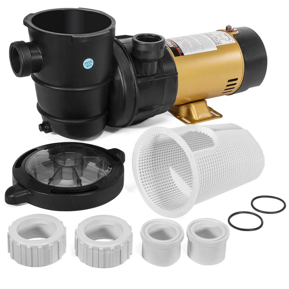Xtremepowerus Energy Saving 1 5 Hp Dual Speed In Above Ground Pool Pump 1 5 In Npt With Large Strainer Basket 75113 H The Home Depot