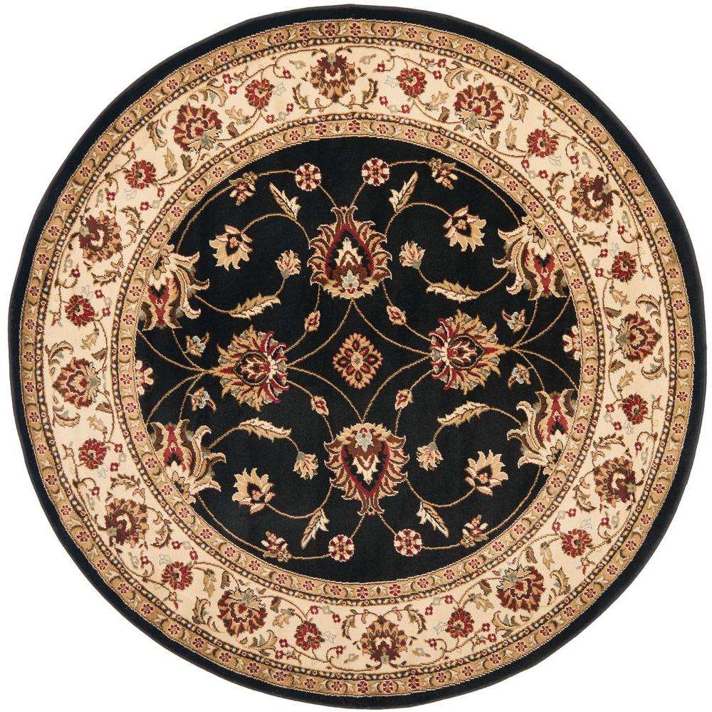 Safavieh Lyndhurst Black/Ivory 5 ft. 3 in. x 5 ft. 3 in. Round Area Rug