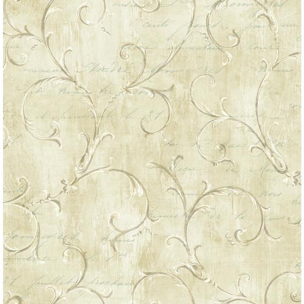 Seabrook Designs Charleston Scroll Greige and Teal Calligraphy Wallpaper CT40207