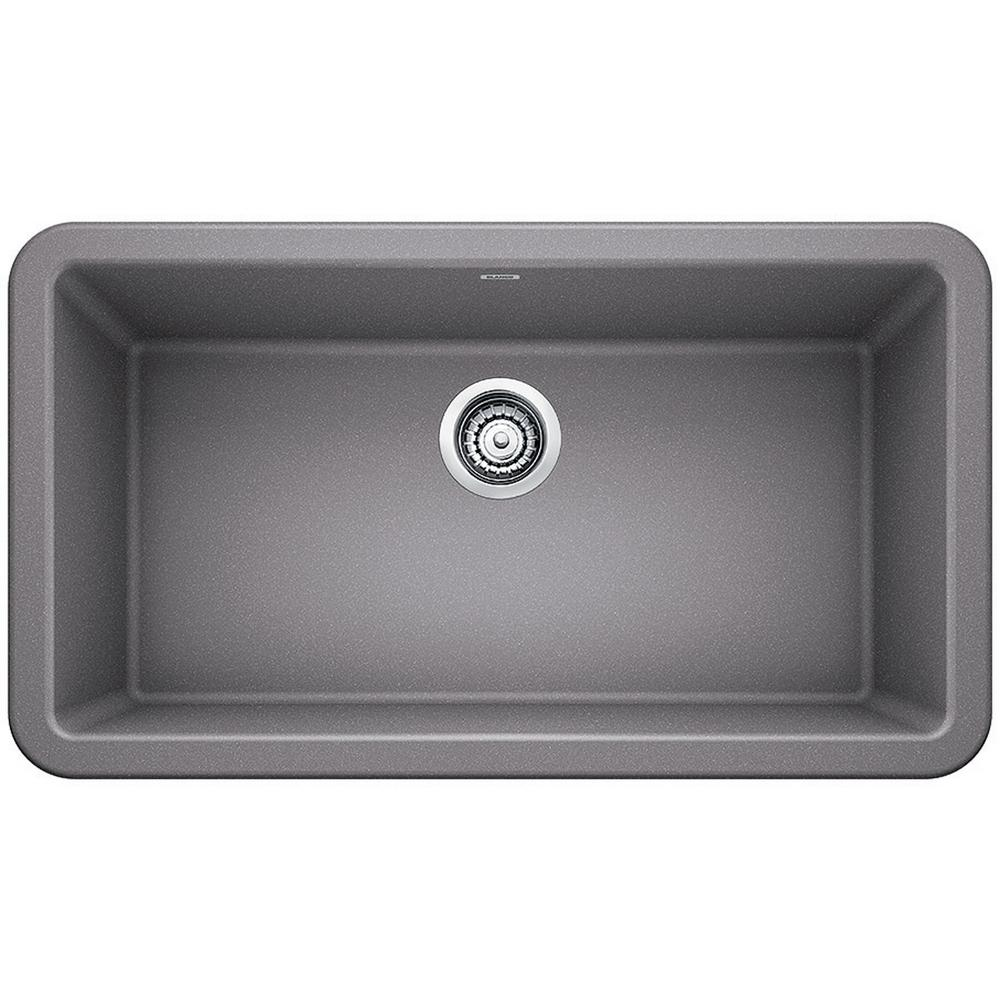 Blanco Ikon Apron Front Granite Composite 32 In. Single Bowl Kitchen Sink  In Metallic Gray