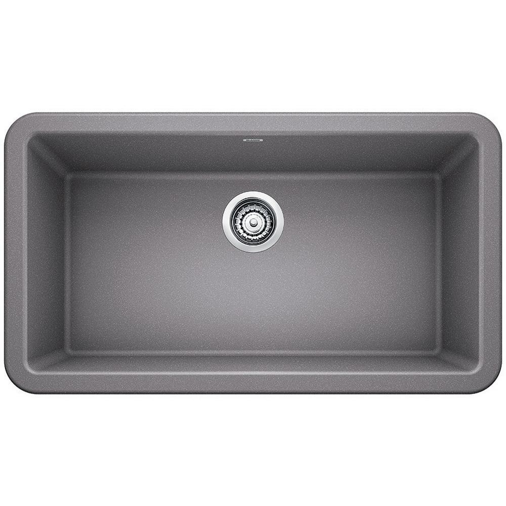 Blanco Ikon Farmhouse Apron Front Granite Composite 33 In Single Bowl Kitchen Sink In Metallic Gray 401900 The Home Depot
