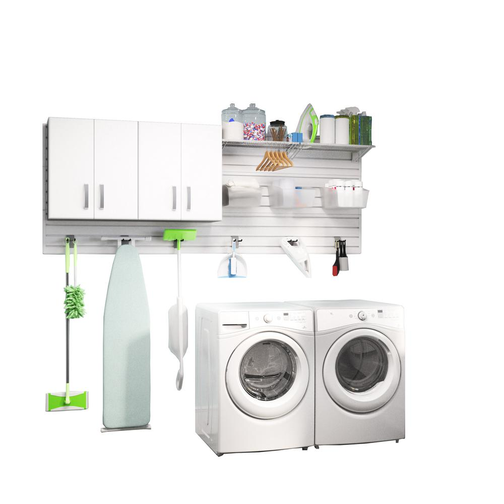 Flow Wall Modular Laundry Room Storage Set With Accessories In White 2 Piece