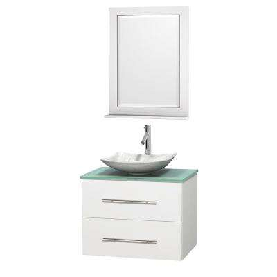 Centra 30 in. Vanity in White with Glass Vanity Top in Green, Carrara White Marble Sink and 24 in. Mirror