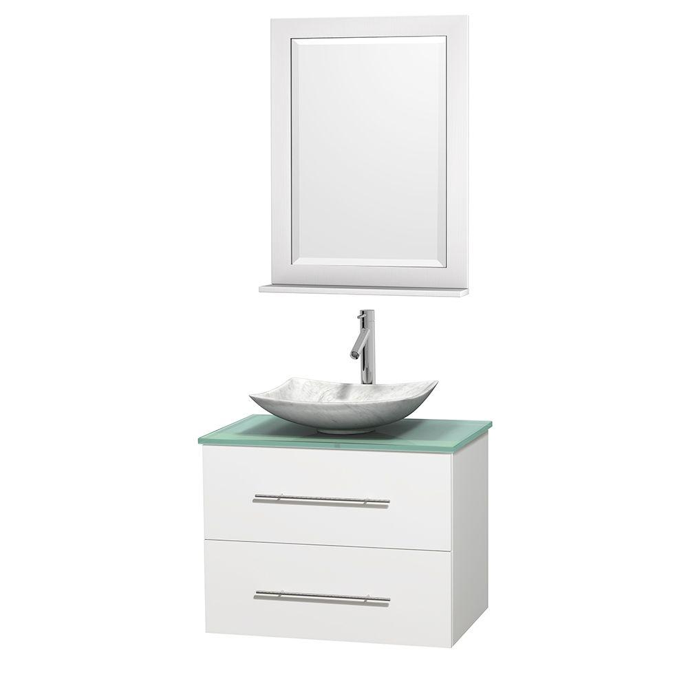 Wyndham Collection Centra 30 in. Vanity in White with Glass Vanity Top in Green, Carrara White Marble Sink and 24 in. Mirror