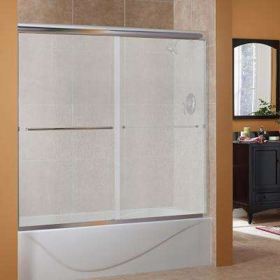 Cove 60 in. x 60 in. Semi-Framed Sliding Tub Door in Silver with 1/4 in. Rain Glass
