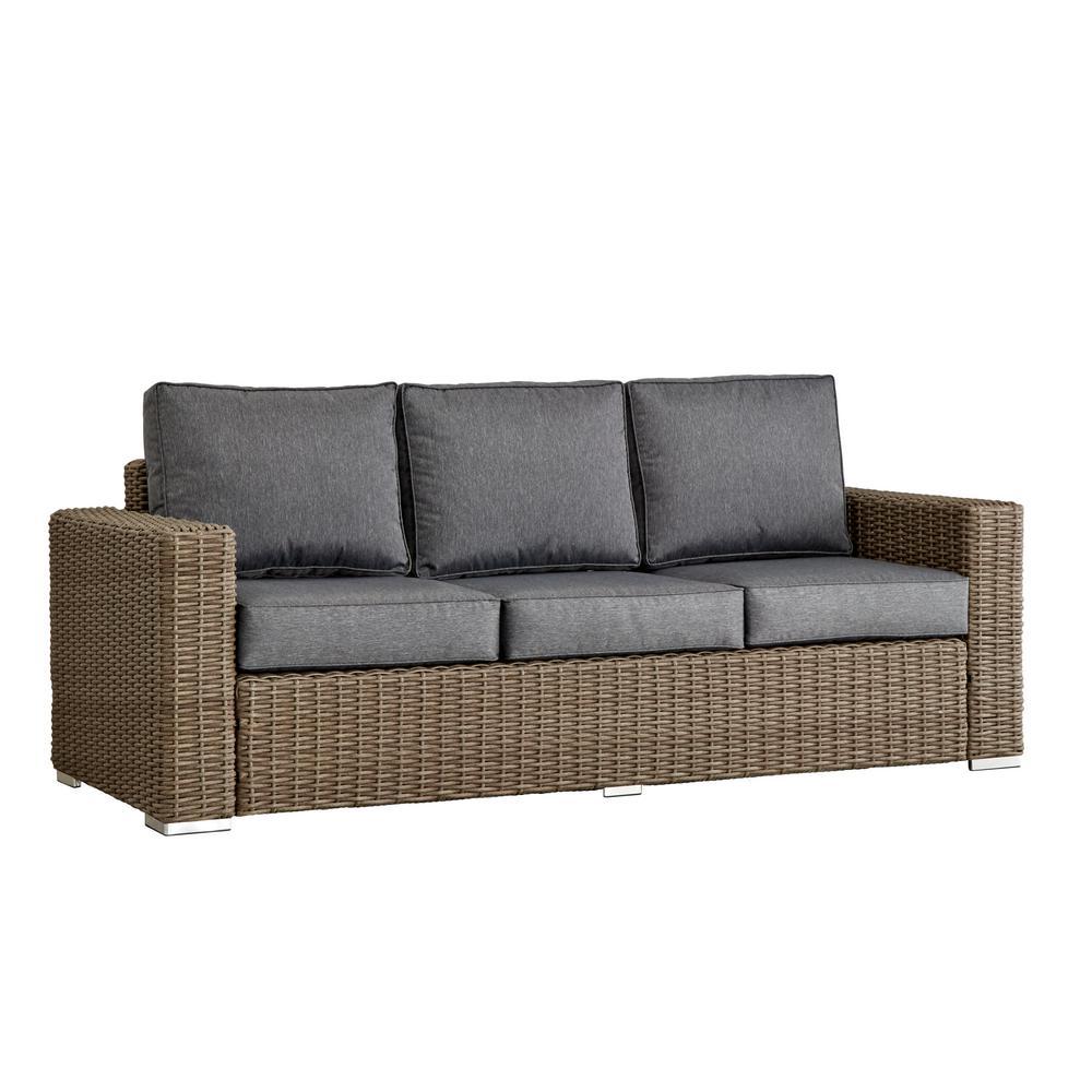 Square Arm Wicker Sofa Gray Picture 489